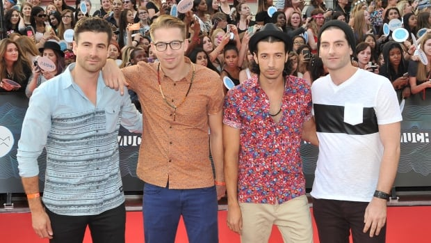 Mark Pellizzer, Alex Tanas, Nasri Atweh and Ben Spivak of Magic! arrive at the 2014 MuchMusic Video Awards.