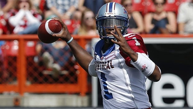 Montreal QB Troy Smith completed only five of 17 passes for 45 yards in the Als' last game, a blowout loss to B.C.