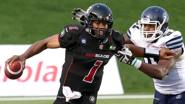 Redblacks quarterback Henry Burris, left, says the 1-3 CFL expansion club has often