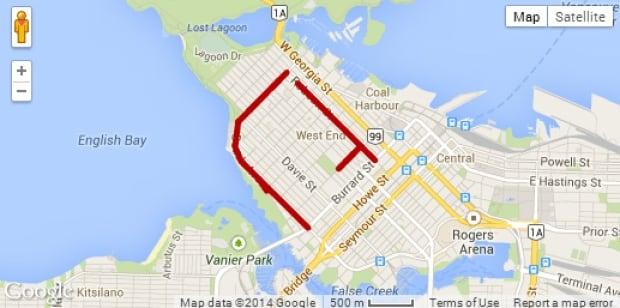 2014 Vancouver Pride Parade road closures