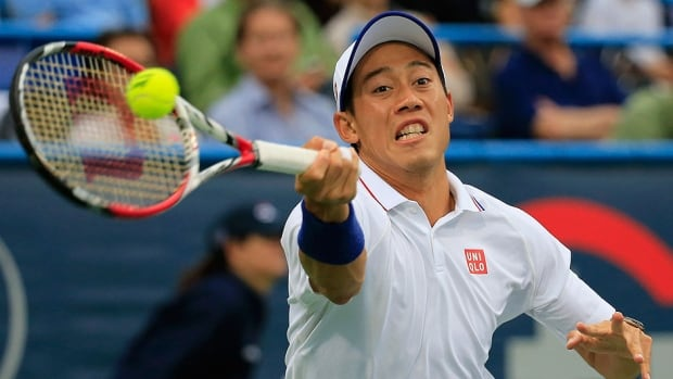 """Kei Nishikori, seen here returning a shot to Richard Gasquet during the Citi Open in Washington, D.C., on Thursday, will miss the upcoming Rogers Cup in Toronto with a """"severely infected right big toe."""""""