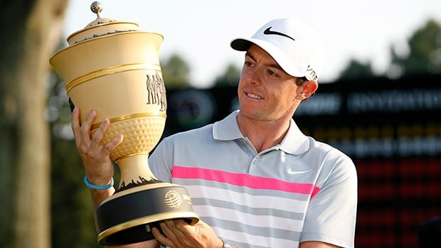 Rory McIlroy holds the Gary Player Cup upon winning the WGC-Bridgestone Invitational at Firestone in Akron, Ohio, on Sunday.
