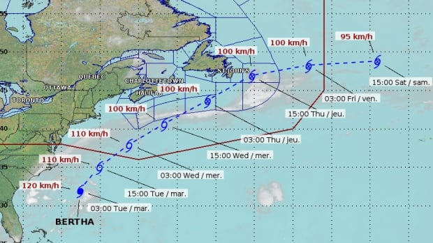 According to CBC meteorologist Jim Abraham, tropical storm Bertha is expected to pass 400 kilometres south of Nova Scotia on Wednesday before heading into the Grand Banks on Thursday.