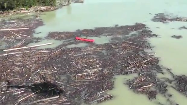 Cariboo Regional District helicopter flyover of debris flow, tailings pond breach