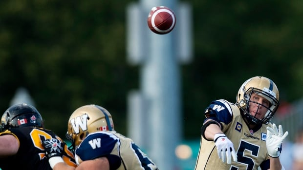 Winnipeg Blue Bombers quarterback Drew Willy makes a pass against the Hamilton Tiger-Cats during a game in Hamilton on July 31.