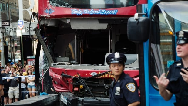 The collision occurred in an area of Manhattan that is teeming with tourists.