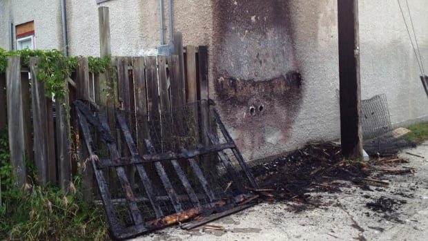 A wall outside of a Winnipeg home is scorched after a mattress burned Tuesday night.