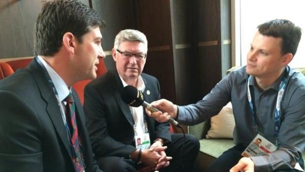 Mayor Don Iveson and Edmonton 2022 chairman Reg Milley were interviewed by the BBC while they were in Glasgow.