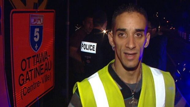 Marc-André Gaudreault says he was assaulted with a baseball bat while working as a flag man at a construction site in Gatineau, Que., on Tuesday night. He suffered minor injuries, police say.