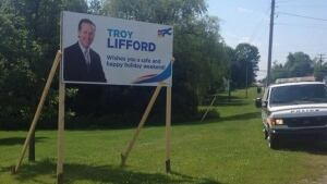 Troy Lifford political sign sign