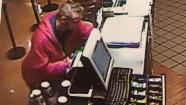 A picture captured on the hospital surveillance of a man suspected of robbing the Subway Restaurant at the cafeteria.