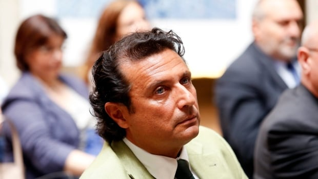 Captain of the capsized Costa Concordia Francesco Schettino is shown in Rome on July 10, 2014, around the time he delivered a lecture to university students.