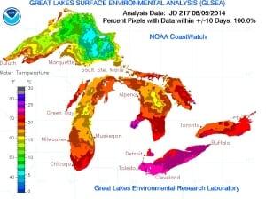 Great Lakes temperature map