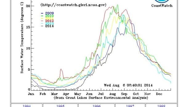 2014 temperatures in Lake Superior (as represented by the black line) are significantly colder than they have been at this time in previous years.