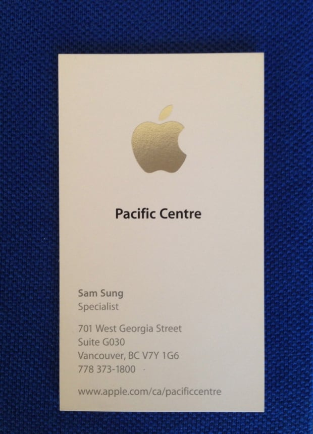 Sam Sun Apple Specialist Business Card