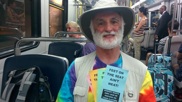 Jerry Steinberg has been placing these flyers on every TransLink vehicle he rides for five years.