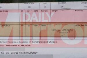 George Clooney and Amal Alamuddin paperwork