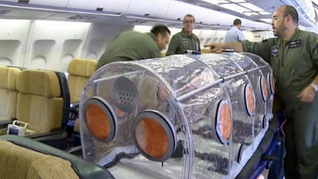 Plane prepped for Ebola patient transfer RAW