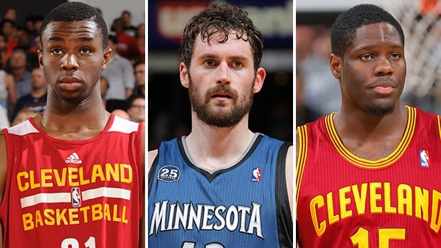 Andrew Wiggins, left, and Anthony Bennett, right, are reportedly going to be traded to Minnesota in exchange for Kevin Love, centre.