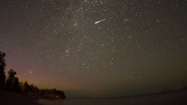 CBC reader Ric Hornsby sent us this photo of a Perseid meteor, captured north of Gimli, Man., in August 2013. This year's Perseid meteor shower peaks on Aug. 12, two days after the brightest full moon of the year.