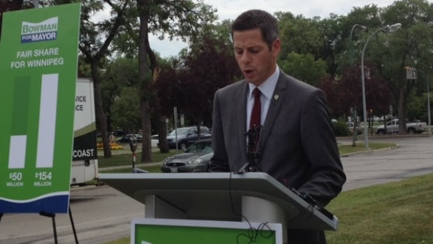 Brian Bowman stands near the Manitoba Legislative Building on Thursday, pledging to get a bigger share of provincial sales tax revenue for the city.