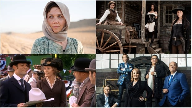 CBC-TV's fall 2014 primetime schedule features (clockwise from top left) British spy thriller The Honourable Woman, gritty western Strange Empire, and popular stalwarts Dragons' Den and Murdoch Mysteries.