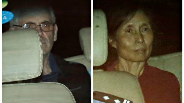A combination photo shows British corporate investigator Peter Humphrey and his wife Yu Yingzeng as they leave the Shanghai court inside a police vehicle on Friday.