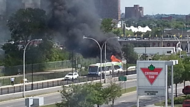 Firefighters say no one was hurt after the engine block of a Rapidbus caught on fire Friday afternoon.