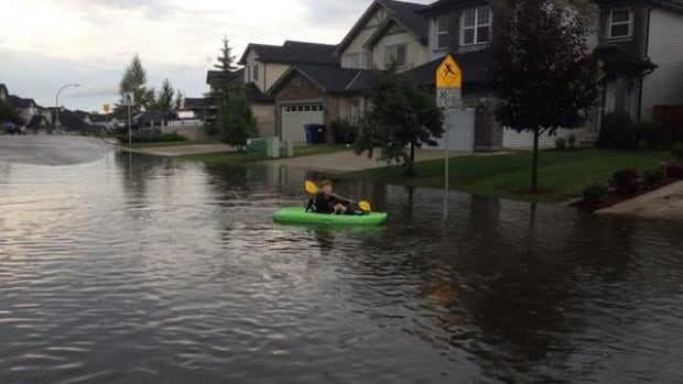 Flash flooding has been reported in several areas of Calgary, including Kincora Heights, after heavy rain Friday afternoon.