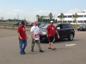 Bombardier picketers