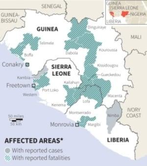 Ebola WHO map