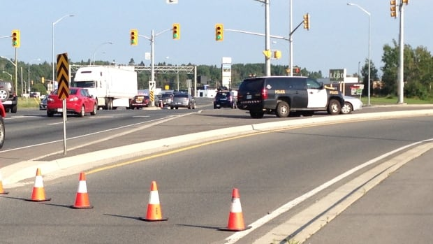Eastbound access to Highway 11/17 was closed at Red River/Dawson Road in Thunder Bay on Sunday morning as police investigated a serious collision involving a pedestrian.