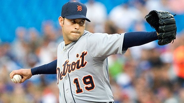 Detroit Tigers pitcher Anibal Sanchez left Friday's game against the Toronto Blue Jays with a strained pectoral muscle and returned to Detroit on Saturday to undergo an MRI. He's expected to miss three to four weeks.