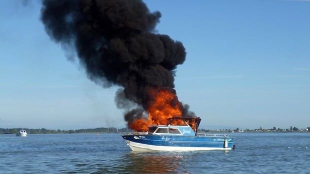 Two men and a woman, some of whom suffered burns, wound up in the water after their fishing boat exploded off Steveston Saturday night.