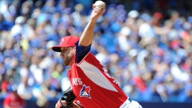 Mark Buehrle was the first of eight Blue Jays pitchers to take the mound in a marathon game that lasted more than six-and-a-half hours at the Rogers Centre on Sunday. The 19-inning affair was the longest game in franchise history.