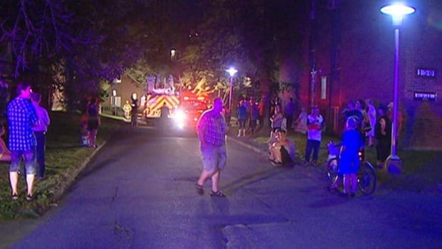 About 100 people were forced out of their units while Gatineau firefighters battled flames in an apartment building on Gréber Boulevard on Sunday night.