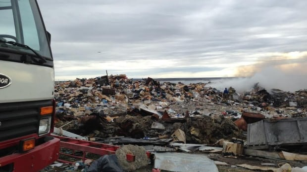 Firefighters were quickly on the scene as a fire broke out at the Rankin Inlet dump early this morning.