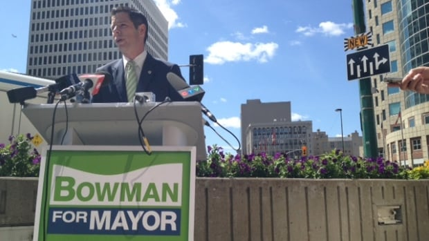 Signs like the one attached to Brian Bowman's podium will soon start to crop up across Winnipeg for all candidates.