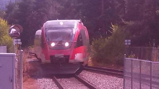 Twitter user @HG200 put out this photo of the northbound O-Train off its tracks at Carleton University Monday, Aug. 11, 2014.
