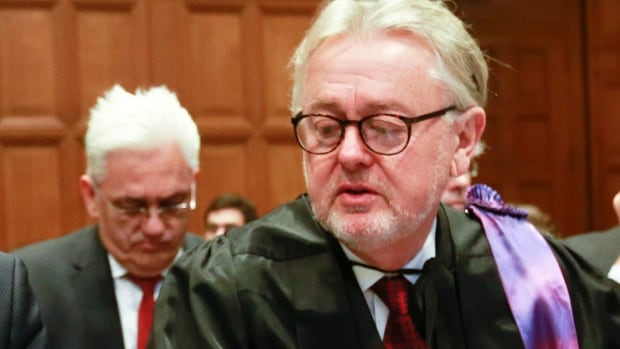 Canadian William Schabas, seen at the International Court of Justice (ICJ) in The Hague in March, has been appointed head of a UN commission on international humanitarian and human rights in Gaza. Foreign Affairs Minister John Baird criticized the UN commission Monday.