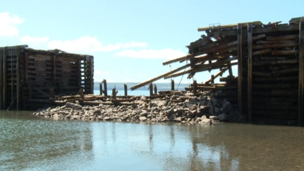 The Scots Bay Wharf was damaged after Post-tropical storm Arthur.