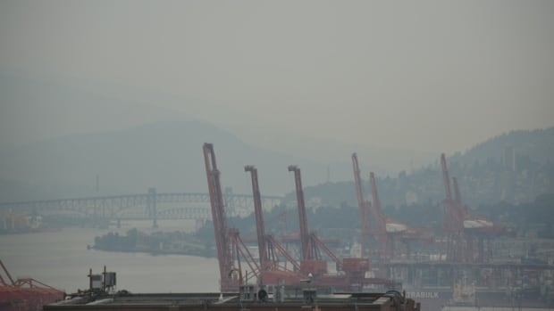 A webcam set up to monitor visual air quality showed a haze in the air over Vancouver Harbour on Tuesday.