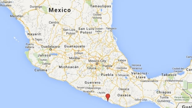 The approximate location of a magnitude 5.8 earthquake that struck southwestern Mexico early Wednesday.