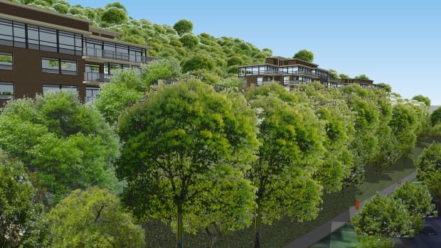 Rendering of proposed condos for Charlton Ave. that would abut the Escarpment Trail.