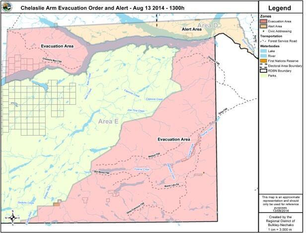 Chelaslie Arm Evacuation Order and Alert - Aug 13 2014 - 1300h