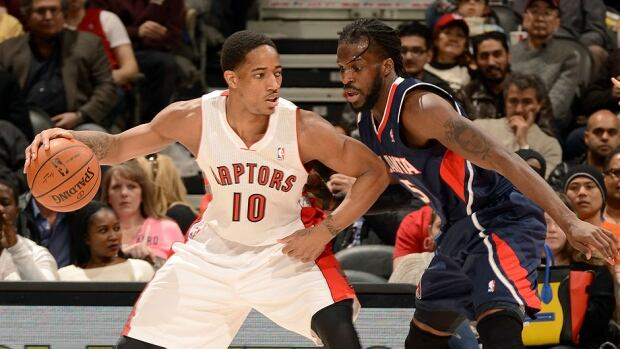 DeMar DeRozan, left, and the Raptors will play nine of their first 12 games at home in the upcoming season, Toronto's 20th in the NBA. Game 1 will be played at the Air Canada Centre against DeMarre Carroll, right, and the Atlanta Hawks on Oct. 29.