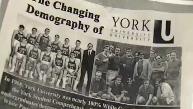 These posters have appeared at York University in recent weeks. They contrast images that claim to show groups of York students in the 1960s, saying back then the student population was 100 per cent white.