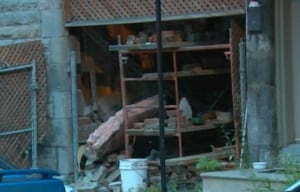 Carriageway Cartier Street collapsed building