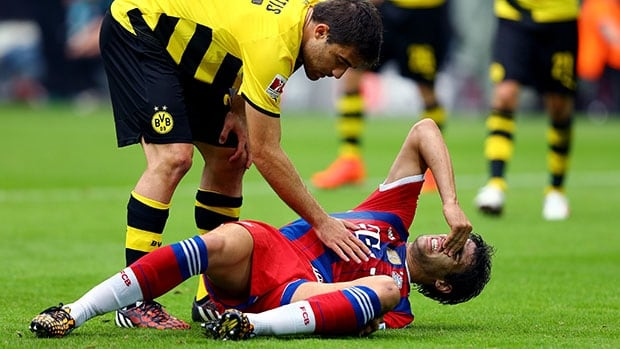 Javi Martinez was injured in a 2-0 loss in the German Super Cup at Borussia Dortmund.