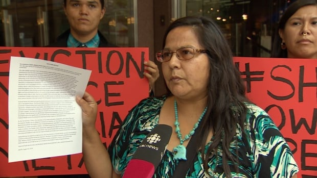 Neskonlith Chief Judy Wilson delivered an eviction notice to Imperial Metals at its Vancouver office, demanding it abandon exploratory work it has undertaken on its Ruddock Creek mine site.